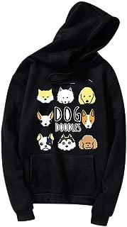 AmyDong Women Dog Printing Drawstring Hoodie with Pocket Long Sleeve Casual Blouse Cotton Cute Sweatshirt S-3XL