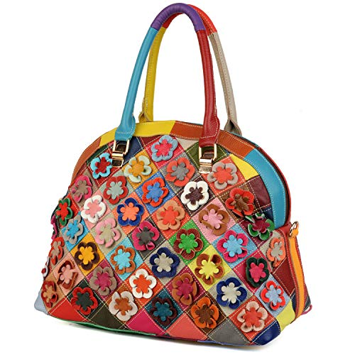 Bolso de Hombro de Mujer, YALUXE Bolso Tote Shoppers Moda de Cuero Genuino Multicolor Flores Piel Cosida Estilo Primavera