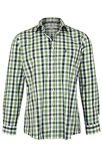 Almsach Herren Trachtenhemd kariert grün Oliv, Oliv, L