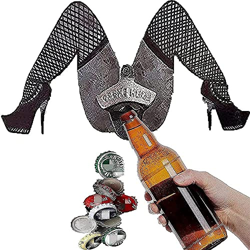 Abridor de botellas de metal con patas abiertas divertido montaje en la pared de cerveza o botella de soda con una sola mano Abrebotellas de diosa