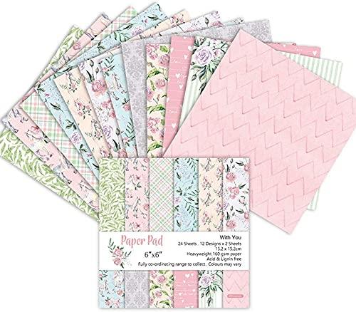 Lantsang Bastelpapier|24 Blatt|15.2x15.2cm|160g/m²|mit Vintage Design für DIY Handwerk Foto Hintergrund Deko Designpapier, Dekorpapier, Motivpapier-Rose Blume
