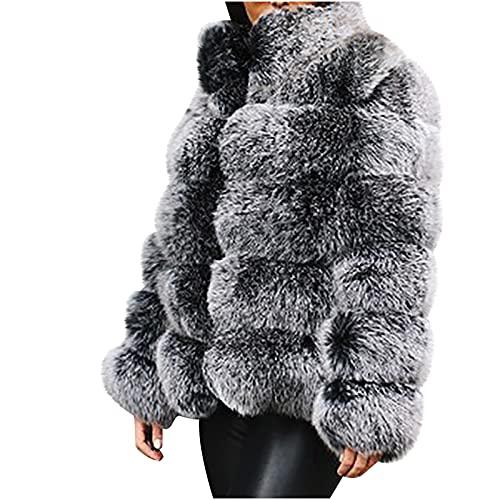 pamkyaemi Chaqueta de invierno para mujer, de forro polar, corta, cárdigan de manga larga, de imitación para solapas, abrigo de invierno, abrigo de pelo sintético