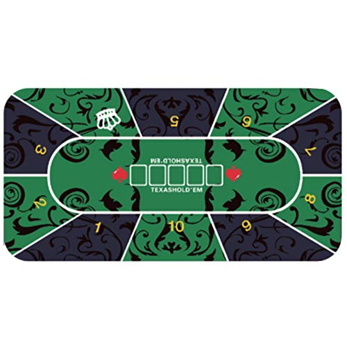 COFFEE CAT Rubber Foam Poker Table Top Layout Rectangular Poker Mat,Extra Large Size Portable Game Mat The Best Surface for Playing Cards, with Carrying Bag