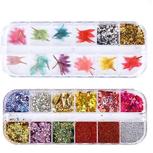 GOTONE 108 pezzi Vero Fiori Secchi Decorazione adesivi nail art 3D fiori conservati fai da te Suggerimenti Manicure Decor Accessori misti (2 scatole)