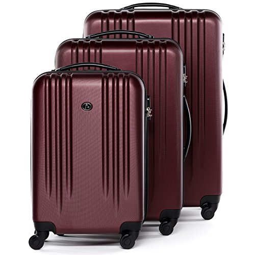 FERGÉ Kofferset Hartschale 3-teilig Marseille Trolley-Set - Handgepäck 55 cm, L und XL 3er Set Hartschalenkoffer Roll-Koffer 4 Rollen rot