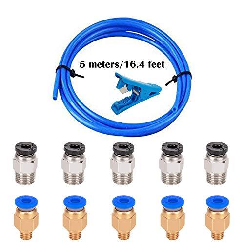 CESFONJER Tubo de teflón 3D para boquilla, 5 metro PTFE 1,75 mm filamento ID 2mm OD 4 mm + Cortador De Tubo + PC4-M6-M10 Conector(5Pcs+5Pcs)