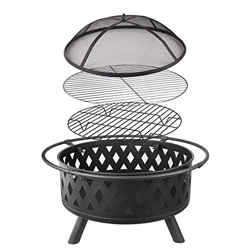 Lumemery 3-in-1 Fire Pit with BBQ Grill Shelf Outdoor Square/Round Table Firepit for Barbecue, Heater, Ice Pit Metal Brazier Garden Patio Heater