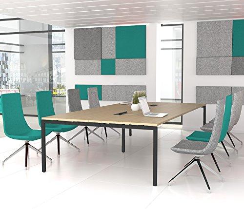 NOVA Konferenztisch 320x164cm Eiche mit ELEKTRIFIZIERUNG Besprechungstisch Tisch, Gestellfarbe:Anthrazit