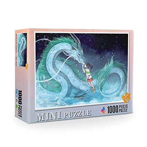 lunanana 1000 Stück Totoro One Piece Puzzles, Kunstpapier Puzzle Dekompression Spielzeug Home Puzzle Interessante Geschenke(Spirited Away)