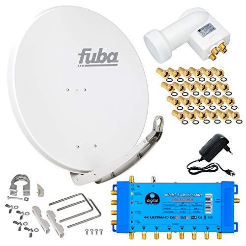 FUBA 8 Teilnehmer Digital SAT Anlage DAA850W + Opticum LNB 0,1dB Full HDTV 4K + PMSE Multischalter 5/8 + 24 Vergoldete F-Stecker Gratis dazu