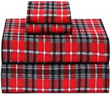 Ruvanti 100% Cotton 4 Piece Flannel Sheets Queen - Deep Pocket - Warm - Super Soft - Breathable Flannel Bed Sheet Set Queen Include Flat Sheet, Fitted Sheet & 2 Pillowcases (Christmas Red Plaid)