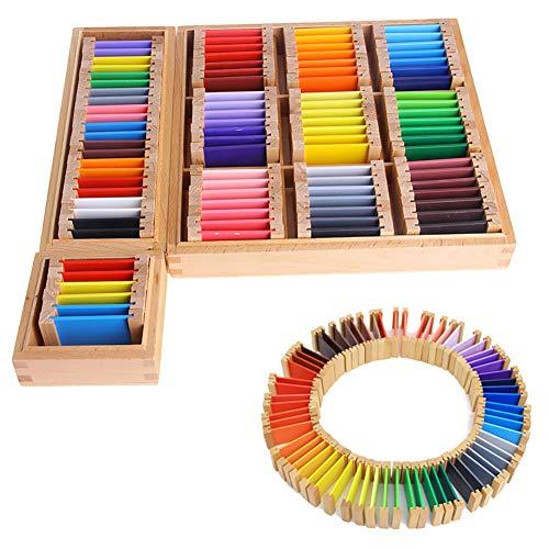 Catkoo Montessori Sensorische Farbkarte Holzkiste Vorschulkinder Kinder Pädagogisches Spielzeug, Perfektes Training Kinder Intelligenz Geschenke KleinNone