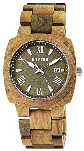 Raptor Unisex-Holzuhr Holzarmband Datumsanzeige Analog Quarz RA20197