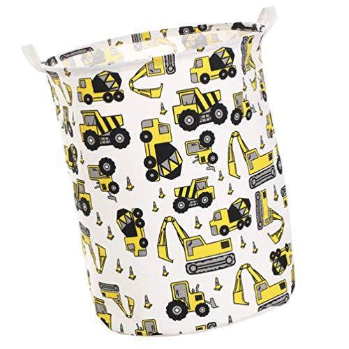 VOSAREA Baumwollwäschekorb R&er Zusammenklappbarer Aufbewahrungskorb aus Baumwollleinen Perfekt für Dreckiges Wäschespielzeug (Bagger)