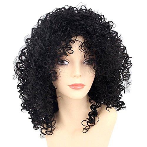 Baoblaze 16 pouces Afro Kinky Frisées-Curly Perruques cheveux brésiliens cheveux couleur Noir naturel Bon Marché Pour Femmes