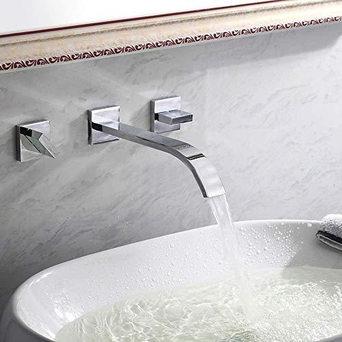 LONGWDS Lámpara de pared todo cobre grifo de estilo europeo caliente y frío lavabo grifo en la pared de tres agujeros doble manija cascada grifo del hotel disfrute