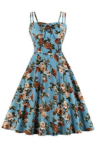 MisShow Elegant Rockabilly Kleider Damen Blumen Sommerkleid Volant Kleid mit Traeger Blumen 9# 4XL