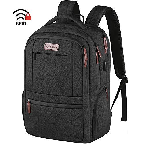 KROSER Laptop Rucksack 15,6 Zoll Laptop Computer Rucksack mit USB-Ladeanschluss wasserdichte Business-Reisetasche Hochschule Schule Lässiger Tagesrucksack für Männer/Frauen-Schwarz