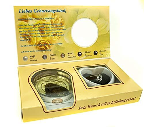 Udo Schmidt GmbH & Co. KG Wunschperle Zum Geburtstag mit Halskette im Geschenkkarton Perle Schmuck Kette