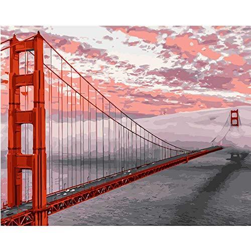 YSNMM Schilderij Door Getallen Diy Rode Gouden Poort Brug Landschap Canvas Bruiloft Decoratie Art Picture Gift