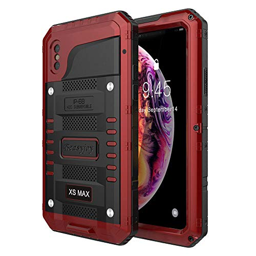 Beasyjoy iPhone Xs Max Case, Heavy Duty Built-in Screen Full Body Protective Waterproof Shockproof Tough Rugged Hybrid Military Grade Defender Outdoor (Red)