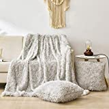 HAO EAST 3 Piece Faux Fur Shaggy Throw Blanket Pillow Cover Set - Super Soft Fuzzy Throw(60' W x 80' L),2 Throw Pillow Covers(18' x 18') for Bed Couch - Plush, Fluffy, White