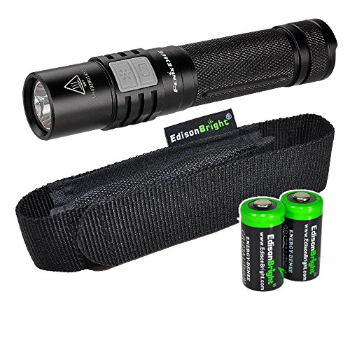 Fenix E35 Ultimate Edition 1000 Lumen (E35UE) CREE LED Flashlight with holster and Two EdisonBright CR123A Lithium batteries bundle