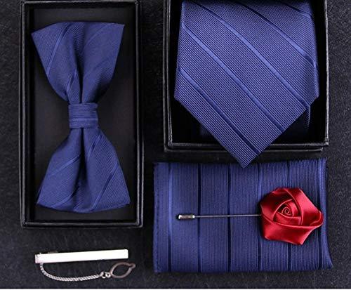 Wsreyj Manschettenknöpfe Und Krawattennadel Herren Geschenkbox 5 Stück Krawatte Herren Business Anzug Hochzeit Bräutigam Fliege Bandana Krawattenklammer Blau