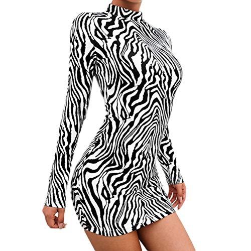 Frauen Schlangenleder Print Zebra Animal Print Club Kleid Rollkragen Sexy Bodycon Party Minikleid (M, B)