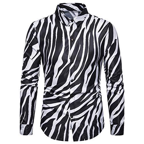 Camisa Delgada para Hombre, Estilo de Club Nocturno Europeo y Americano, Personalidad de Gran tamao, Estampado a Rayas, Camisa de Manga Larga Delgada, Disfraz Large