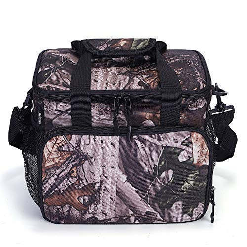 HMQINYI 14L Waterproof Large Insulated Lunch Bag Soft Leakproof Liner Lunch Box for Men Women Adult Picnic Cooler Bag Food Storage Box for Work Office Beach (Leaf Camouflage)