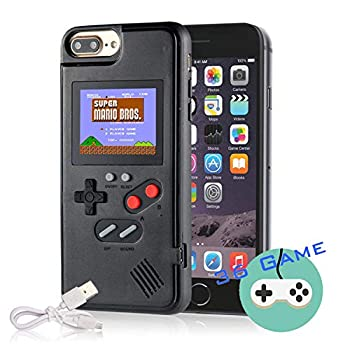 Gameboy Case for iPhone Autbye Retro 3D Phone Case Game Console with 36 Classic Game Color Display Shockproof Video Game Phone Case for iPhone  for iPhone 6P/7P/8P Black