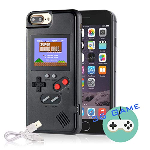 Autbye Gameboy Case for iPhone, Retro 3D Phone Case Game Console with 36 Classic Game, Color Display Shockproof Video Game Phone Case for iPhone 6/6S/7/8(Black)