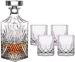Whiskey Decanter Set, Crystal Whiskey Decanter with 4 Glasses, Liquor Decanter, for Liquor, Scotch, Bourbon, Vodka, 5 Piec...