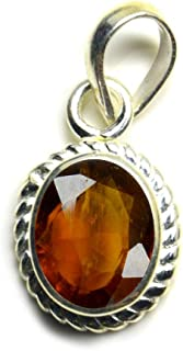 Anuj Sales Certified 15.00 Ratti / 14.50 Carat Deluxe Quality Natural Gomed Pendant/Locket Silver Plated Gemstone by Lab C...