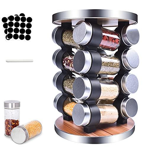 MUOIVG Especiero,360 ° Especiero Cocina Giratorio,Con 16 Botes Especias, Organizador Cocina , Ahorro de Espacio Especiero Ccocina, Práctico Organizador Especias, Botes de Cocina,Fácil de Limpiar