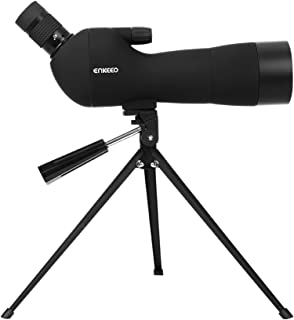ENKEEO Waterproof Spotting Scope 20-60X60AE with Tripod, 45-Degree Angled Eyepiece, Optics Zoom 41-21m (134-69ft) / 1000m - Black