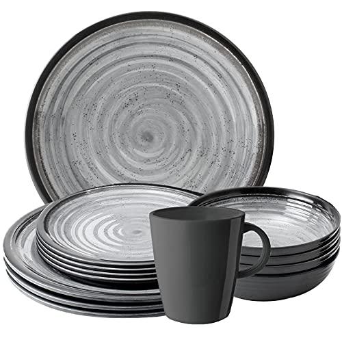 Camping Melamin-Geschirr Set 16-teilig Teller & Kaffee-Tassen - Unzerbrechlich...