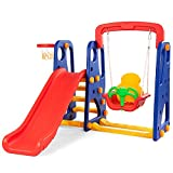 Costzon Toddler Climber and Swing Set, 3 in 1 Climber Slide Playset w/Basketball Hoop, Easy Climb Stairs, Kids Playset for Both Indoors & Backyard