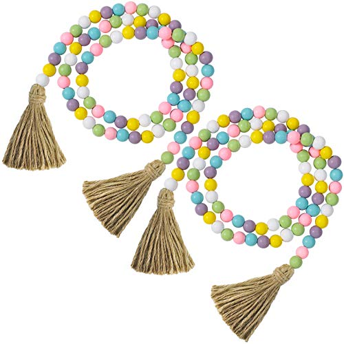 2 Pieces Easter Day Wood Bead Garlands with Tassels Farmhouse Rustic Country Wood Bead Garland 10.8 Feet Natural Holiday Garland Prayer Boho Beads Wall Hanging Decor (Fresh Color)