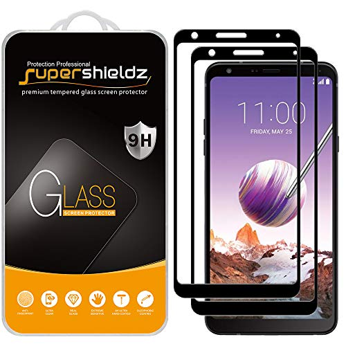 (2 Pack) Supershieldz Designed for LG Stylo 4 Tempered Glass Screen Protector, (Full Screen Coverage) Anti Scratch, Bubble Free (Black)