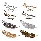 Dusenly 8 horquillas de metal vintage para el pelo con forma de ramas de árbol de aleación, plumas y hojas, para mujeres y niñas