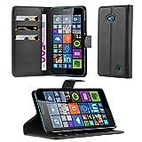 Cadorabo Funda Libro para Nokia Lumia 640 en Negro Fantasma - Cubierta Proteccíon con Cierre Magnético, Tarjetero y Función de Suporte - Etui Case Cover Carcasa