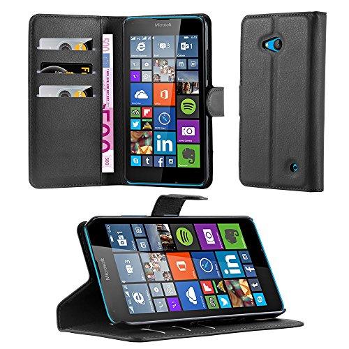 Cadorabo Hülle für Nokia Lumia 640 - Hülle in Phantom SCHWARZ – Handyhülle mit Kartenfach und Standfunktion - Case Cover Schutzhülle Etui Tasche Book Klapp Style