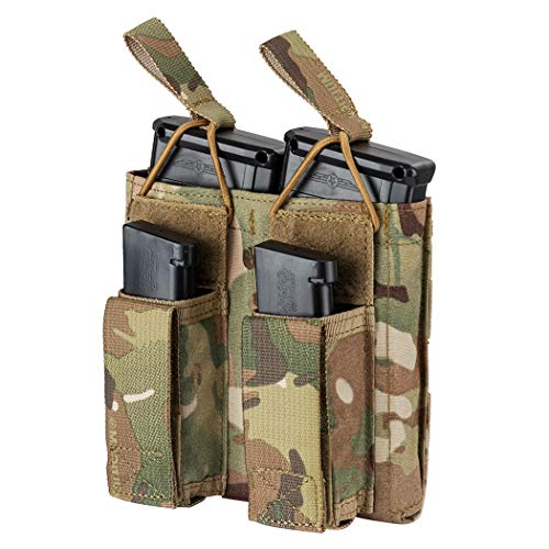 IDOGEAR Double Kangaroo Mag Pouch Tactical Molle Magazine Pouch Mag Carrier for M4 M16 AK AR Magazine Glock M1911 92F 9mm .40 S&W .45 ACP Magazines 500D Nylon (A:Multicam)