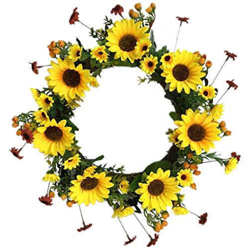 Cgration Künstliche Blumen Sonnenblumenkranz Frühlingskranz Outdoor für Haustür Wand Fenster Party Hochzeit Dekor