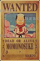 海賊アニメMOMONOSUKEもものすけ さびた錫のサインヴィンテージアルミニウムプラークアートポスター装飾面白い鉄の絵の個性安全標識警告バースクールカフェガレージの寝室に適しています