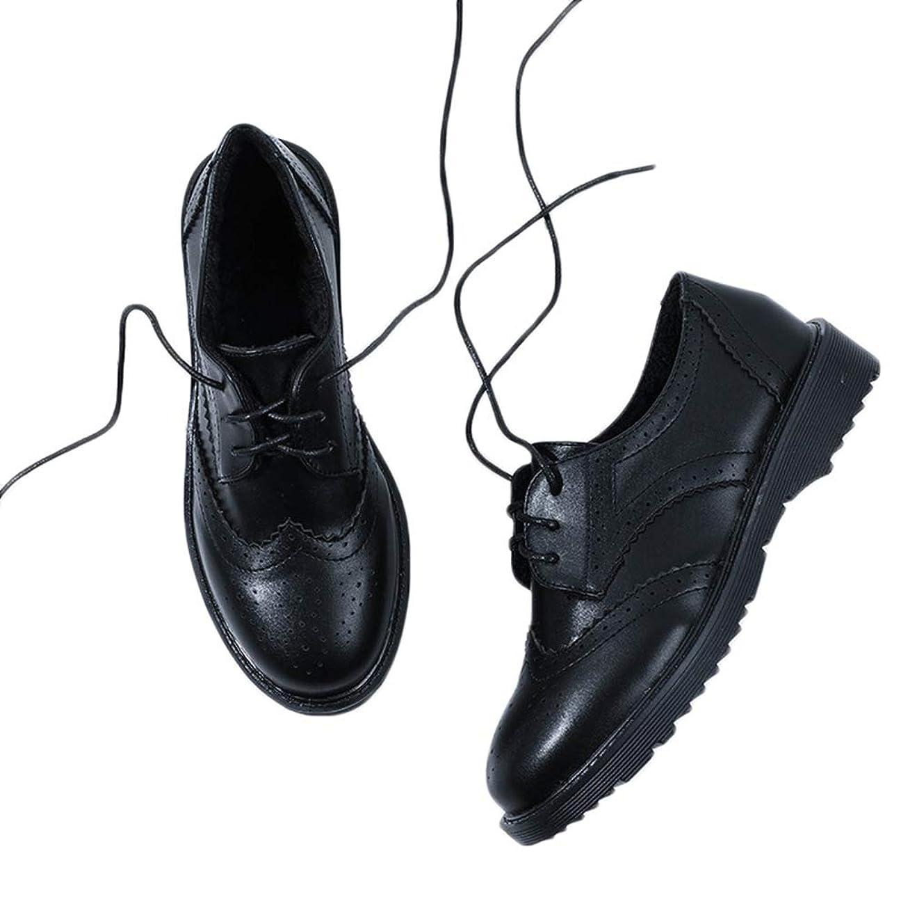 タイピスト有用施し[THLD] オックスフォードシューズ おじ靴 レースアップシューズ ウィングチップ カジュアルシューズ レディース ワークブーツ レースアップ 3ホール 走れる マニッシュ 厚底 紐 ブラック 黒 靴 韓国