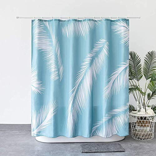 JRing Shower Curtain Polyester Fabric Machine Washable with 12 Hooks 72x72 Inch (Sky Blue)