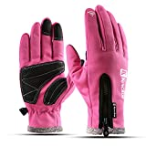 VMFTS Winter Gloves Touch Screen Gloves Fleece Lining Anti-Slip Leather Palm Windproof Work Gloves Waterproof Full Finger Gloves for Men Women,Black (Pink, Medium)